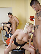 Foursome gym orgy with blonde and brunette