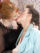 Hot mature sappho spreading young pussy with her probing and skilful hands