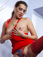 Lusty milf in a red gown flirting with a guy for a fuck with oral foreplay