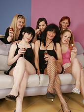 Six old and young lesbians having great sex