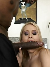 Sultry blonde Tiffany Rayne taking a big cock in her mouth and dripping wet snatch