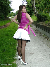 Outdoors in white stiletto heels (cathy4)