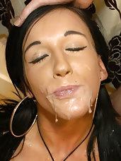 Gorgeous young Chantelle Fox is no stranger to taking a few cumshots, but had never been to a bukkake party before! So naturally we felt obliged to make sure she took her first party facefull of jizz from our crack team of heavy cummers