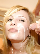 Gorgeous new English pornstar CloverX came over to Splatbukkake towers for a very cummy bukkake party! Lovely blonde Clover sucked her way round a team of heavy cummers and got totally plastered. Clover Completely Covered in Cum!