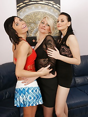 Three old and young lesbians making it wet and wild