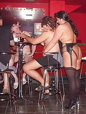Gangbang in an erotic bar