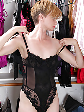 Mindy gets horny playing dress up in lingerie and ends up masturbating