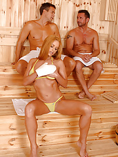 Cathy fucks 2 guys in sauna