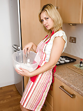 Tight pussied MILF Laurita cooks up more than cookies in here