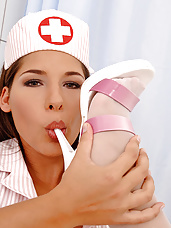Hot nurse Zafira does footjob