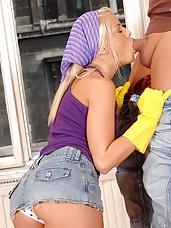 A sensual blonde giving head