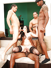 Amy Starz is one sexy barely legal brunette with a tight body and even tighter pussy...but not for long! We bring in our squad of big black-dicked gang bangers to pound Amy's poor pussy and assault her asshole with their beefy nightsticks, stretching this little bitch to her limits!