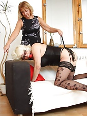Old grandma ashamed by perverse domina housewife