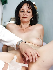 Aged housewife Venuse gets naked at gyno office for perverted specialist