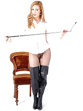 Hot riding babe Louise has forgotten her pants, but is still ready to give you a good spanking in her sexy thigh high leather boots