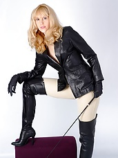 Sexy blonde riding slut loves to dominate her men in her sexy leather gear and with her big hard whip