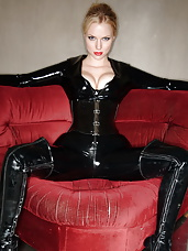 Fetish model Ancillia in a tight latex catsuit.