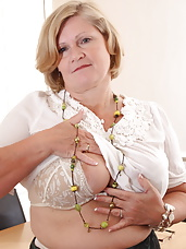 Naughty mature secretary getting dirty