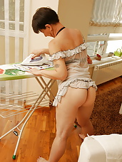 Naughty housewife getting dirty during her chores