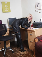 You can never see too much leather especially on a horny blonde