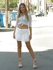 Leggy Ashley's Public Stocking Striptease - no nudity