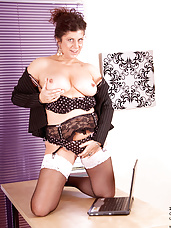 Sultry milf Secretary strips off her office attire and spreads her hot mature snatch