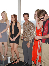 Party like a pornstar and you're likely to meet any one of these sexy sluts! Watch as pussy gets passed around faster than the dip for a little guy-on-girl-on-girl-on-guy action! This one party you'd better not miss!