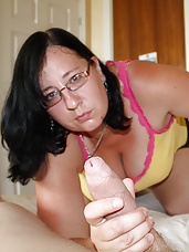 Pretty big girl jerks stiff cock