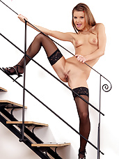 Suzie Carina teasing in the stairs
