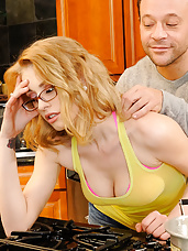 Allie James gets invited to her neighbor's, Kurt's, house for dinner. She's not really impressed by his cooking skills as he only knows how to make packaged ramen. Kurt thinks that maybe she needs to relax before dinner so he starts massaging her shoulders and her thighs. He moves slowly up her thigh until his fingers are in her pussy. With Allie all wet Kurt decides it's time to finish massaging her pussy with his fat dick. He bangs her on his kitchen counter and she swallows his load because, let's face it, it probably tastes better than his ramen.