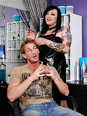 Scarlet LaVey has her friend's boyfriend, Ryan, come over to her salon for a haircut. She has ulterior motives for calling him over though. She always found Ryan hot and she figured if she could get him alone then she can finally make her move on him. She starts by rubbing her huge tits on his head and after that he's putty in her hands. She takes Ryan's cock throughout her salon and he drops his load on her tits.