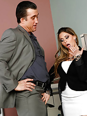 Rumor around the office has it that Billy has a giant cock and Rachel Roxxx would like to find our for herself. So when Billy glides on over to her part of the office she tells him about the little rumor that's been going around. Of course, not one to take his word for it, Rachel is interested in seeing it with her own eyes. Billy pulls out his massive cock as soon as he makes sure that no one is around. Rachel then proceeds to gobble it down her throat. It doesn't stop there of course, Billy pounds Rachel's pussy on her desk before jizzing all over her face and tits. All in a hard day's work at the Naughty Office.