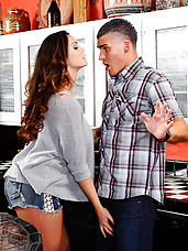 Alison Tyler is over at her friend's house for the party, but Alison is more interested in partying with her friend's husband. She's heard stories about how big his cock is and she wants to see it for herself. Her friend's husband is a little hesitant though since his wife is in the other room, but Alison makes him forget all about that once she sucks on his cock and has him bang her on the kitchen counter.