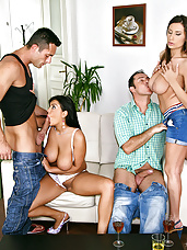 Super hot big tits euro babies nailed hard in this group sex cumfaced party