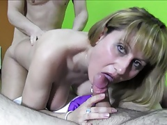 Busty Spanish MILF Threesome