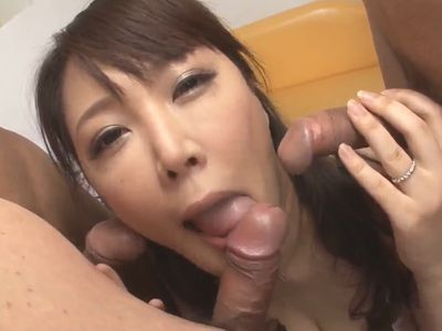 Japanese Babe enjoys three cocks