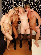 This lucky dude gets naughty with three mature sluts