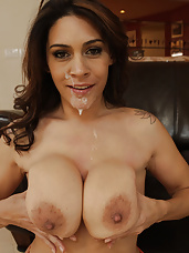 Busty latina MILF is horny and wants to get her pussy fucked rough by big cocked friend of her son's.