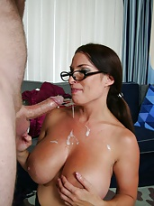 Mega titted over 40 MILF Goldie Blair loves to get her massive 44F rack creamed with salty jizz from complete strangers