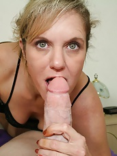 Milf Cami notices Joeys cell phone and decides to take a quick look. She sees videos of Joey and his girlfriend and one video shows him cumming hard. She gets excited and her curiosity gets the better of her as she begs him to cum so she can watch.