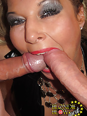 Blondie just cant get enough cock in her slutty mouth and she takes as many as she can get.