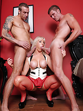 Becs loves to get in the middle of two hard cocks and get fucked