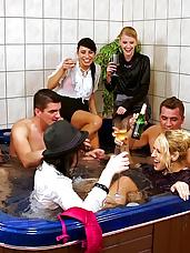 Horny pornstars in hot tub