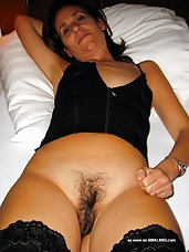 Fit sleazy amateur MILF shows off her hairy pussy