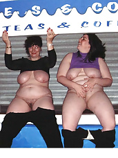 Two plump beautys expose themselves before pissing in public...
