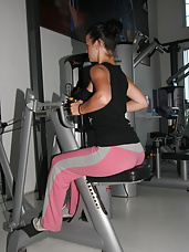 Mature women getting a workout during gym