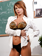 Hot red head teacher loves to fuck her students.