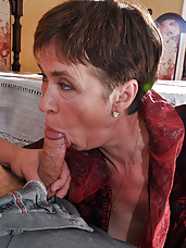 Dressy mature lady lusty for fresh meat gets roughly banged by a young stud