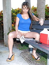 Hot horny milf sitting on a park bench with no undies get picked up for some super hot fucking adventure sex pics