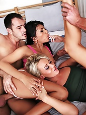 Two hot euro girls take it doble penatration hot blond and one fine ass brunet in a slutty euro orgy